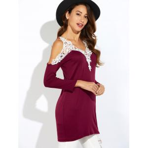 Lace Insert Cold Shoulder Tunic Top - BURGUNDY L