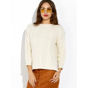 Loose Slit Cable Knit Sweater - WHITE ONE SIZE