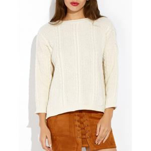 Loose Slit Cable Knit Sweater
