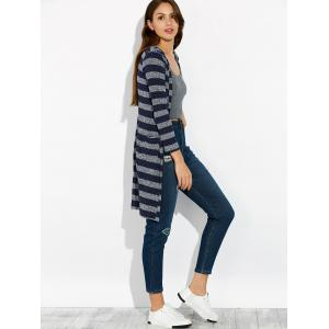 Stripe Long Cardigan - CADETBLUE M