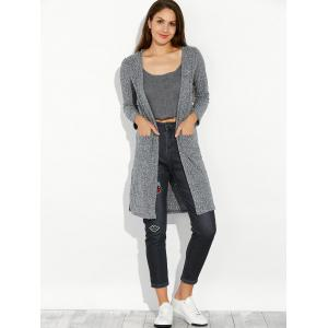 Slit Long Open Cardigan With Pocket -
