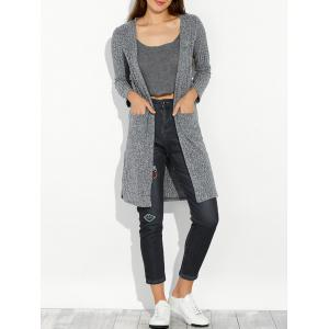 Slit Long Open Cardigan With Pocket - Gray - Xl
