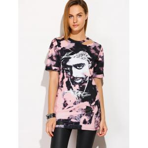 Rock Style Head Portrait Print T-Shirt -