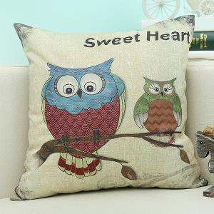 Cartoon Owl Animal Sofa Cushion Linen Pillow Case