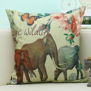 Retro Elephant Printed Sofa Cushion Linen Pillow Case - Beige - 45*45cm