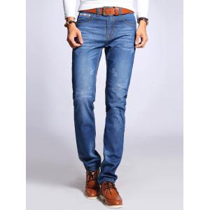 Straight Leg Selvage Design Jeans in Taper Fit - Blue - 31