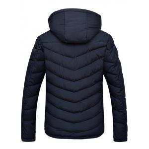 Slim Fit Zipper Up Quilted Hooded Jacket - CADETBLUE 3XL