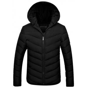 Slim Fit Zipper Up Quilted Hooded Jacket - Black - 3xl