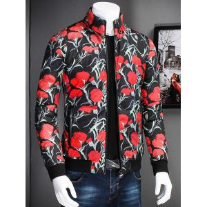 Stand Collar Zip Up Flower Printed Jacket - BLACK 3XL