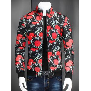 Stand Collar Zip Up Flower Printed Jacket