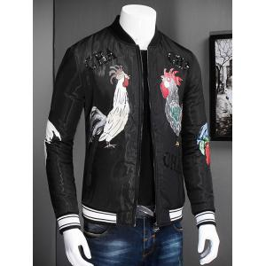 Stand Collar Zip Up Rooster Printed Jacket -