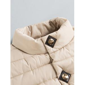 Zipper Button Stand Collar Quilted Jacket -