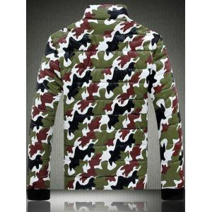 Funnel Neck Zip Up Camouflage Quilted Jacket -