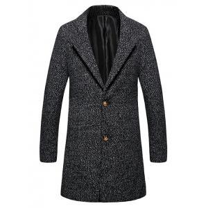 Lapel Single Breasted Wool Blend Tweed Overcoat