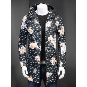 Zip Up Floral Printed Hooded Padded Coat - Floral - 3xl