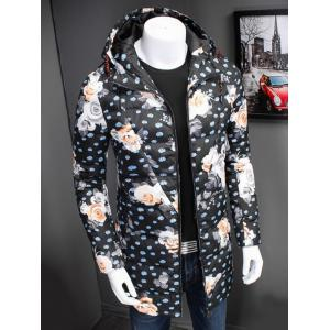 Zip Up Floral Printed Hooded Padded Coat - FLORAL 3XL
