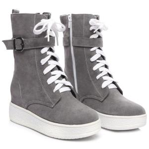 Platform Buckle Strap Zip Short Boots - GRAY 39