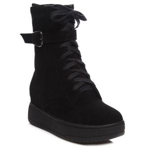Platform Buckle Strap Zip Short Boots - Black - 38