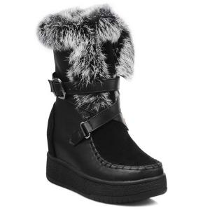 Cross Straps Belt Buckle Faux Fur Short Boots - Black - 39