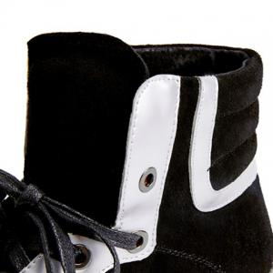 Colour Block Splicing Tie Up Ankle Boots -