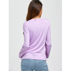 Ruched Draped Neckline Tee - LIGHT PURPLE L