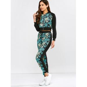 Leaf Print Running Jacket and Drawstring Jogger Pants - BLACK AND GREEN XL