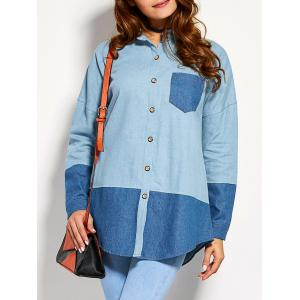 Color Block Front Pocket Chambray Shirt - Denim Blue - M