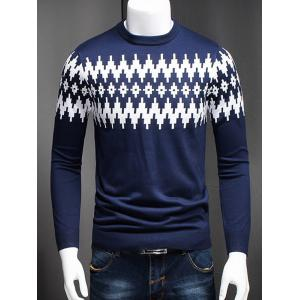 Plus Size Color Block Geometric Spliced Long Sleeve Sweater - Cadetblue - L