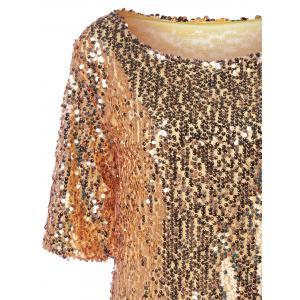 Sequined Short Sleeve Sparkly T-Shirt - GOLDEN M