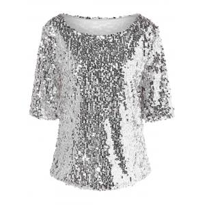 Sequined Short Sleeve Sparkly T-Shirt - SILVER S