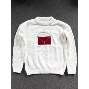 Crew Neck Patched Faux Pearl Sweater -
