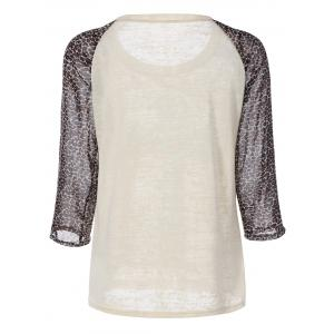 Cross Print Leopard Splicing Raglan Sleeve T-Shirt -