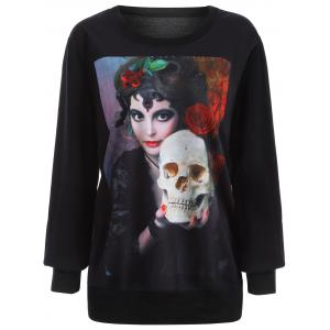 Halloween 3D Beauty and Skulls Print Sweatshirt -