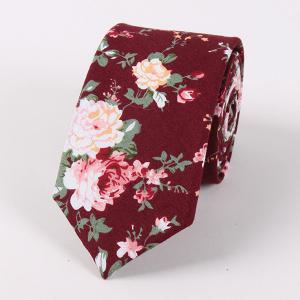 Vintage Floral Printed Cotton Neck Tie - Wine Red