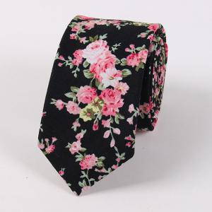 Vintage Floral Printed Cotton Neck Tie - Black - Xl