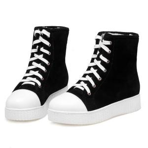Casual Lace Up Suede Platform Boots - BLACK 39
