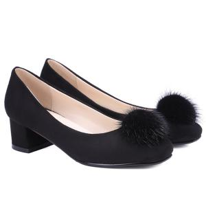 Square Toe Pompon Suede Pumps -