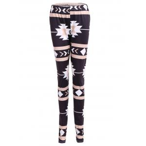 Geometric Christmas Skinny Leggings - Black - Xl