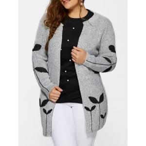 Collarless Leaf Pattern Cute Plus Size Cardigan - Light Gray - Xl