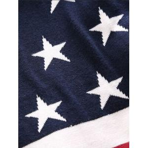 V-Neck Star and Stripe Pattern Single-Breasted Cardigan -
