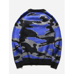 Crew Neck Camouflage Graphic Long Sleeve Sweater -