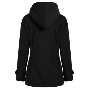 Zip Up Coat Fleece Duffle Hooded - Noir L