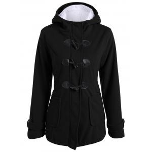 Zip Up Fleece Hooded Duffle Coat - Black - S