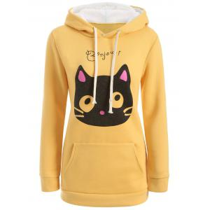 Flocking Cat Head Pocket Hoodie - Yellow - M