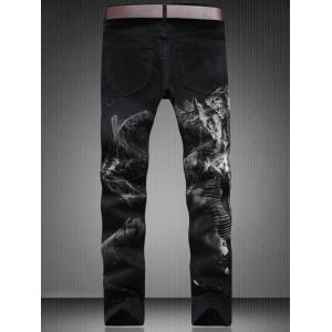 Zip Fly Straight Leg Graphic Jeans -