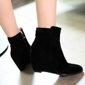 Pointed Toe Flock  Wedge Heel Boots -