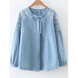 Embroidered Shoulder Denim Blouse