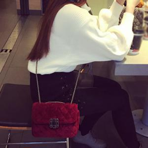 Chains Velour Crossbosy Bag - RED