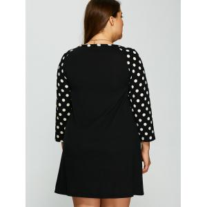 Plus Size Polka Dot Panel Short Casual Dress - BLACK XL