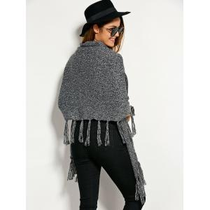 Single Breasted Asymmetric Cape Tassels Cardigan - GRAY ONE SIZE